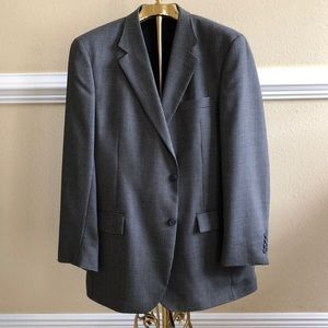 Houndstooth Suit Jacket 44L Navy & Gray 3 button